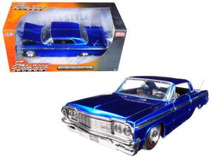 1964-Chevy-Impala-Die-cast-Car-1-24-Jada-Toys-Showroom-8-inch-Blue-Stocked-Rims