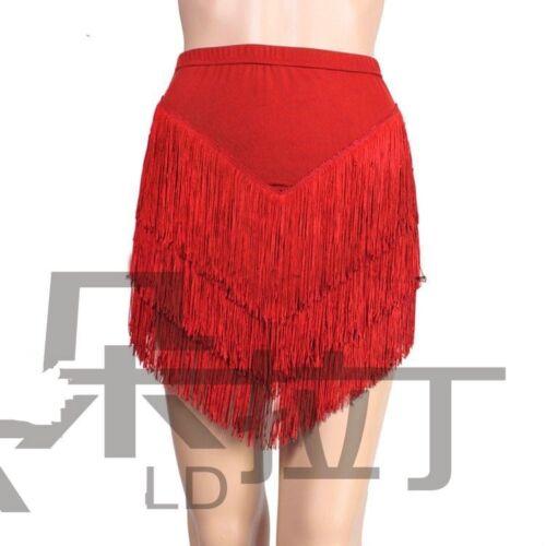 Women Latin Skirt Tango Rumba Dance Costume Fringe Ballroom Salsa Pants Inside