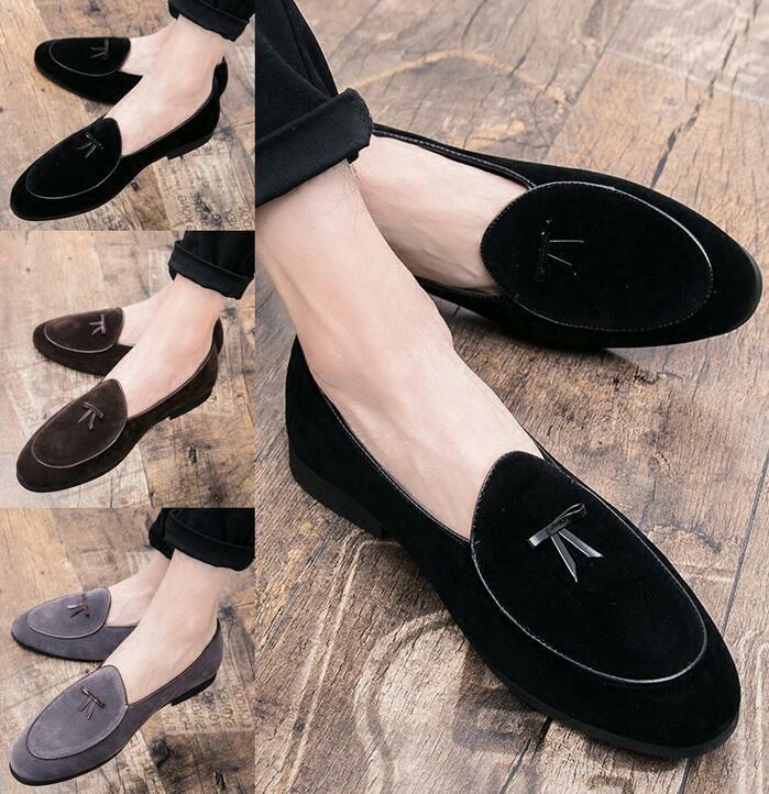 Men's Leather Slippers Loafers Belgian Dress shoes Slip on Flats With Bowtie Hot