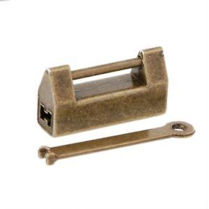 Antique Old Vintage Style Brass Metal Wedding Jewelry Box Padlock Lock Key NEW