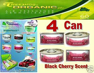 4 Can Treefrog Organic Air Freshener for Car,Home,Auto,Office-BLACK CHERRY Scent