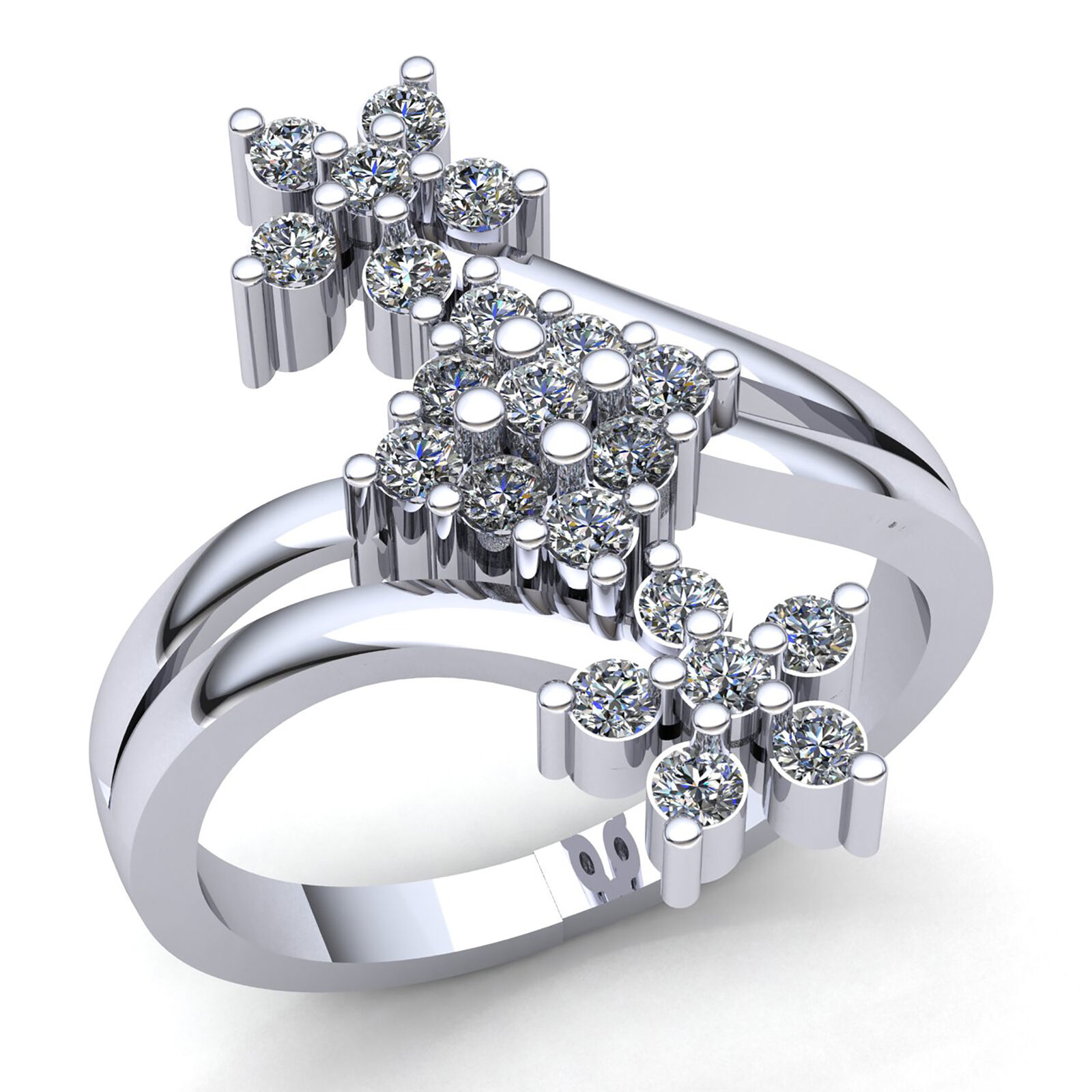 Natural 0.75ctw Round Diamond Ladies Twisted Cluster Engagement Ring 10K gold