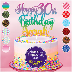 Personnalise-de-tout-age-nom-Happy-30th-Birthday-Cake-Topper-18th-21st-40th-50th