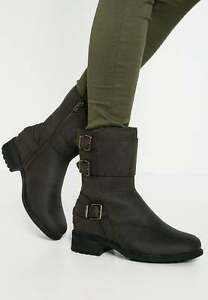 24c604b1197 Details about New UGG BNIB £160 Leather Fur WATER RESISTANT Wilcox Women's  Shoes Biker Boots