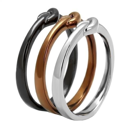Women/'s Fashion Chocolate Plated Stainless Steel 3 Piece Ring Band Set