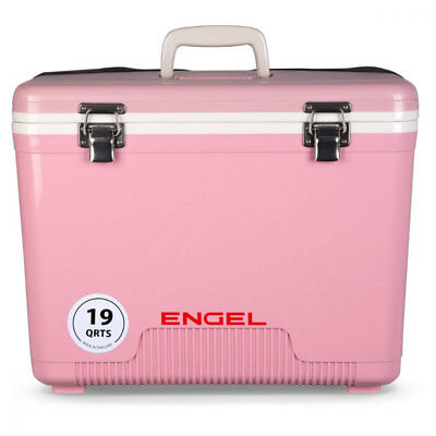 Engel 19 Quart Fishing Bait Dry Box Ice Cooler with Shoulder Strap, Pink