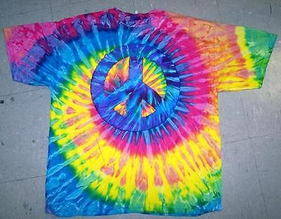 COLORED TYE DIE PEACE SIGN LARGE SIZE short sleeve TEE SHIRT mens womens dyed