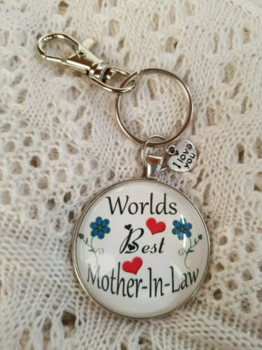 ROUND CABOCHON  KEY CHAIN MY DESIGN WORLD/'S BEST❤MOTHER-IN-LAW