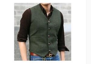 Retro-Mens-Wool-Waistcoat-Herringbone-Tweed-Waistcoats-Gilet-Casual-Slim-Vest