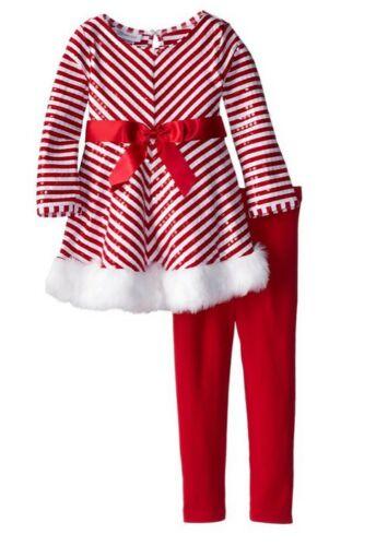 Bonnie Jean Girl Sequins Fur Stripe Holiday Christmas Santa Outfit 12M 18M 24M