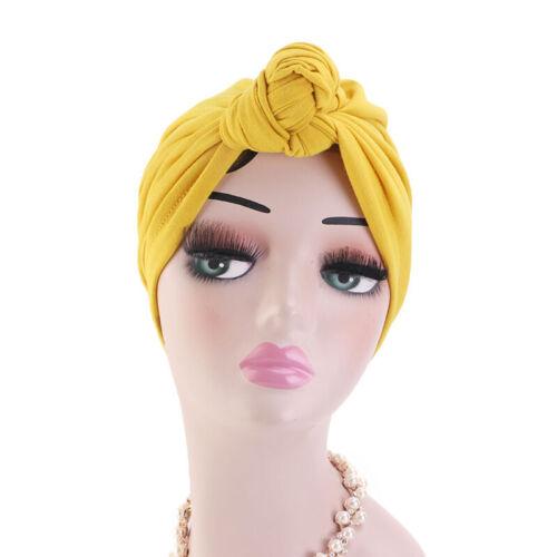 Indian Women Muslim Hijab Knot Twist Chemo Cap Turban Head Wrap Bonnet Hair Hat
