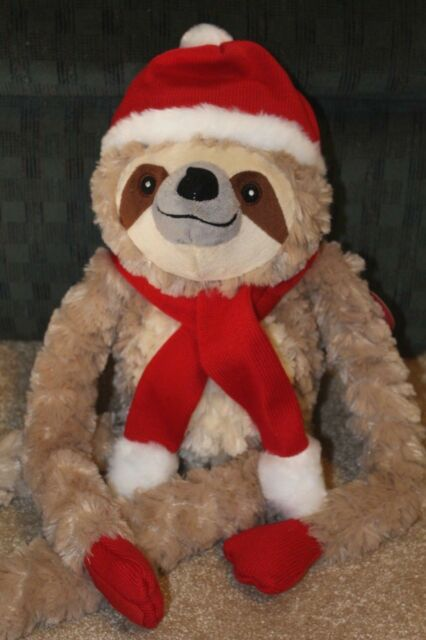 Christmas Sloth.Scully The Christmas Sloth Plush Stuffed Animal From Pier 1 Santa Hat Buddy Gift