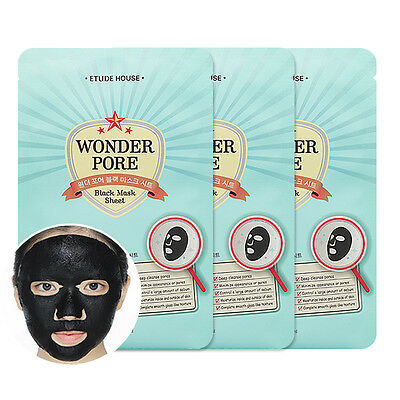 [ETUDE HOUSE] Wonder Pore Black Mask Sheet 3pcs - BEST Korea Cosmetic
