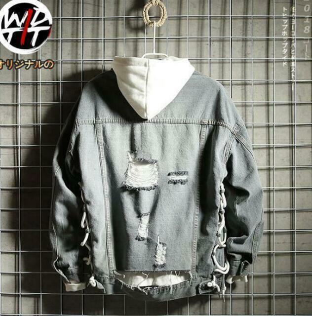 Mens Retro Ripped Frayed Denim Coat Loose Casual Dancing Jeans Boy Jacket Tops