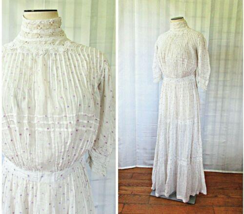 Antique Victorian Dress 1890s White Cotton Purple