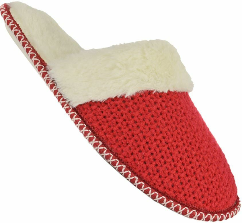 Ladies Womens Knitted mule woven Fur cuff slipper mule Knitted indoor comfort c82d4f