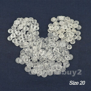 100 Set Size 20/T5 KAM CLEAR Snaps Plastic Button Resin Poppers Fasteners Craft