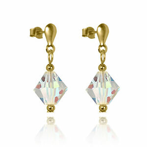 9ct-Gold-amp-Aurora-Borealis-Crystal-Drop-Stud-Earrings-Dangly-Studs