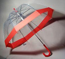 10 x Regenschirm durchsichtig/transparent Glockenschirm rot Automatik