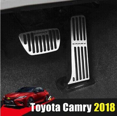 Non-Slip Aluminum alloy Pedal Cover For Toyota Camry 2018 2019 Automatic Motor No Drill Brake Gas Accelerator Accessories 2pcs(BLACK)