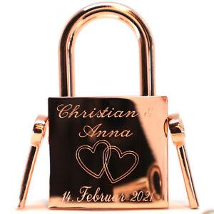 Liebesschloss rosegold glänzend 2 Schlüssel Gravur Geschenkdose Motive