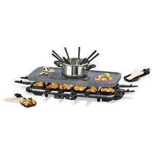 GOURMETmaxx-Raclette-amp-Fondue-Set-fuer-12-Personen-1600W-Grill-heisser-Stein