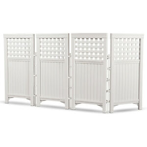 Suncast-Outdoor-Garden-Yard-4-Panel-Screen-Enclosure-Gated-Fence-White-FS4423