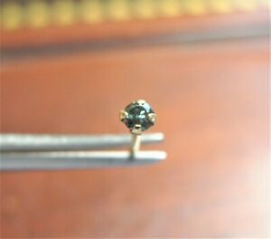 1 7mm 14k Yellow Gold Blue Diamond Nose Pin Ring Bendable Nose