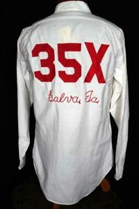 UNUSUAL-VINTAGE-1960-039-S-WHITE-BD-SHIRT-EMBROIDERED-IN-RED-35X-GALVA-SIZE-MEDIUM