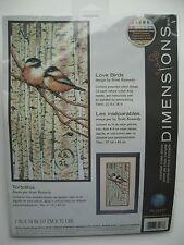 Dimensions Love Birds cross stitch kit NIB chickadees, birch trees, forest