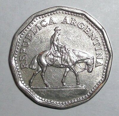 Argentina 10 pesos, Gaucho on horse, animal wildlife coin