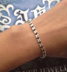 Handmade-Friendship-Bracelet-Braided-Wax-String-silver-bead-adjustable-EBE1001