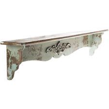 Distressed Natural & Turquoise Wood Shelf  RUSTIC VINTAGE HOME DECOR