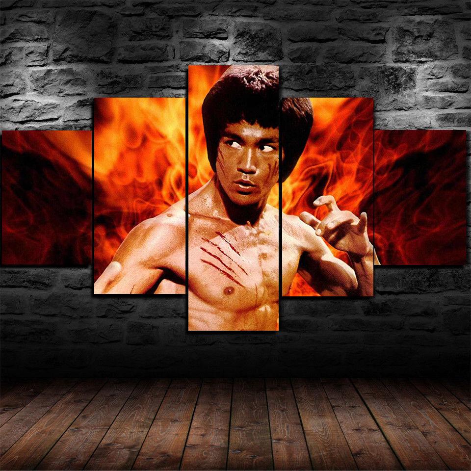 Framed Bruce Lee Kung Fu 5 Piece Canvas Print Wall Art Home Decor