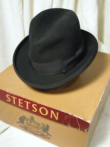 6b2a6d22ad228 Image is loading Vintage-Imperial-Stetson-Homburg-Black-Fedora-Hat-Size-