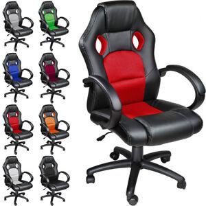 Chaise-fauteuil-siege-de-bureau-racing-sport-tissu-baquet-voiture-simili