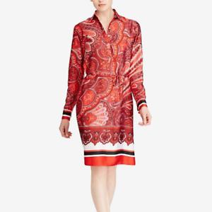 NWT Lauren Ralph Lauren Printed Red Twill Dress Long Sleaves S-z8   155