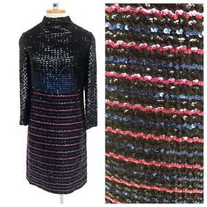 Vintage-VTG-1970s-70s-Johnnye-Black-Sequin-Long-Sleeve-Shift-Dress