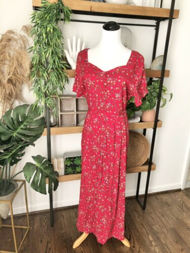 Vintage 90's grunge cottage core Sweetheart  red … - image 1