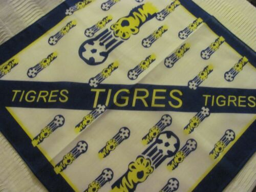 TIGRES  MEXICAN SOCCER CLUB UANL PRINT BANDANA IN WHITE YELLOW AND NAVY BLUE I