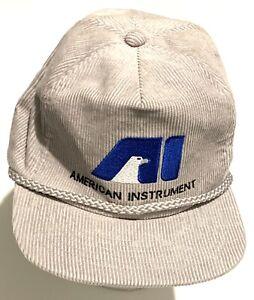Vintage-Advertising-Hat-Cap-Strapback-Corduroy-American-Instrument-Factory