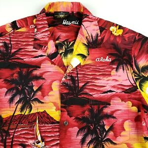Royal-Creations-Hawaiian-button-front-shirt-aloha-floral-palm-trees-Men-039-s-L
