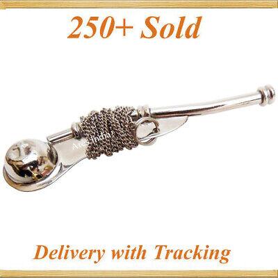 "5/"" Boatswain Brass Whistle w Chain Bosun Call Pipe Nautical Marine chrome finish"