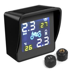 Solar-LCD-Motorrad-Reifendruckkontroll-Alarmsystem-TPMS-mit-2-Sensoren