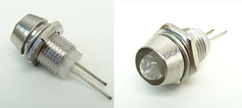 LED Weiß 5mm Schraube Chrom Fassung Halter Reflektor Modellbau Tuning C2666