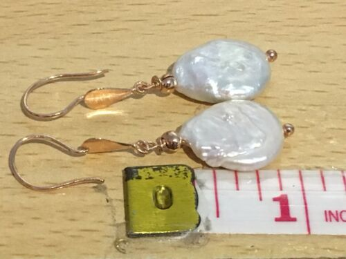 Rose Gold on Sterling Silver Earrings with Flat Coin Freshwater Pearls