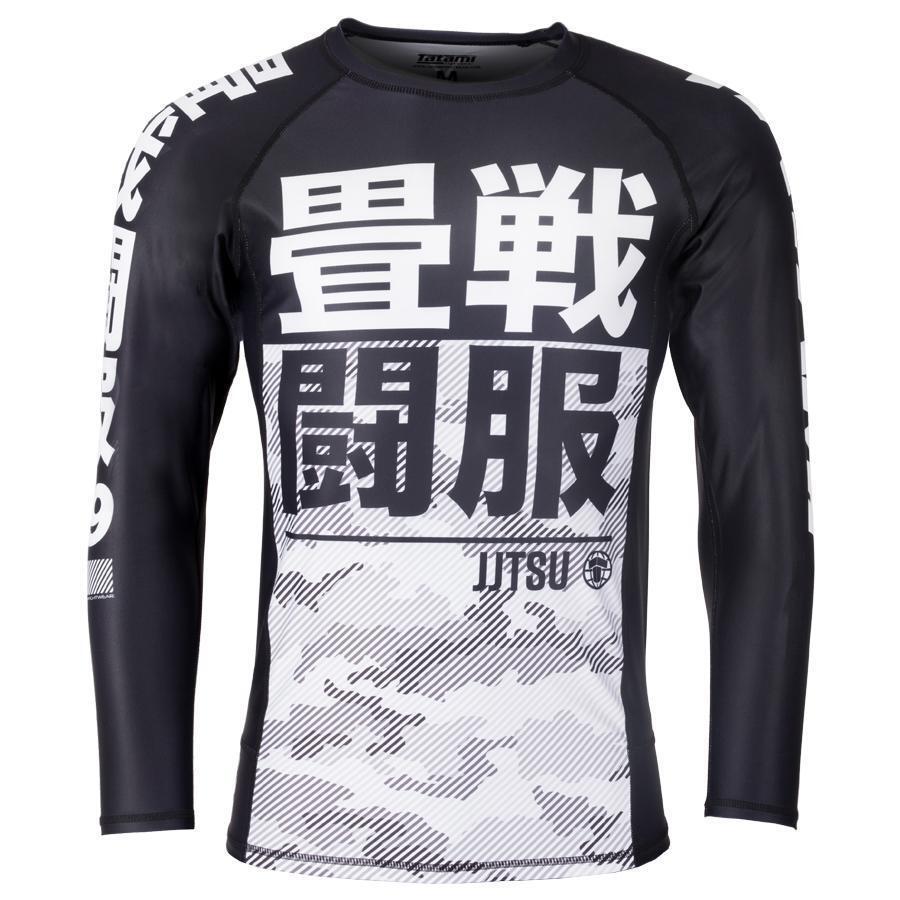 Tatami Mens Essential Camo Rash Guard White Compression BJJ Gym Jiu Jitsu Top