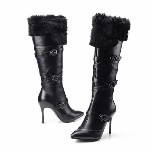 Women Stiletto Pointy Toe Fur Lined Knee High Boots Heel Buckle Strap Warm Shoes