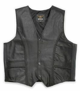 in Gilet pelle Cowboy in Biker Western Smooth Nero Leather Cowl pelle Gilet awZqC7xpq