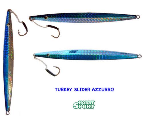 VERTICAL JIG TURKEY SLIDER 200 gr BLUE//SILVER colore TS04 AZZURRO
